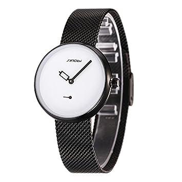 Ruanyi Simple Spike Scale Unique Circular Design Fashion Mujeres Reloj de Cuarzo con Banda de Acero Inoxidable (Color : Blanco): Amazon.es: Deportes y aire ...
