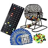 Regal Games Deluxe Bingo Cage Game Set - 8 Inch Metal Cage with Plastic Masterboard, 75 Multi-Color Bingo Balls, 50 Bingo Cards and Bingo Chips (Tamaño: 50 Cards)