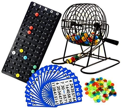 Regal Games Deluxe Bingo Cage Game Set - 8 Inch Metal Cage with Plastic Masterboard, 75 Multi-Color Bingo Balls, 50 Bingo Cards and Bingo Chips (Traditional Rack Jar)