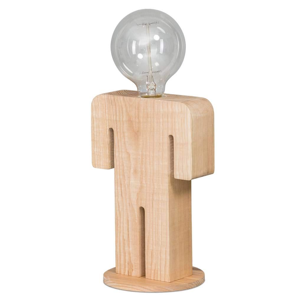 ETH Landhaus/Vintage/Rustikal Tischleuchte/Tischlampe/Lampe/Leuchte Adam holz/Innenbeleuchtung/Wohnzimmerlampe/Schlafzimmer Organisch LED geeignet E27 Max. 1 x 8 Watt