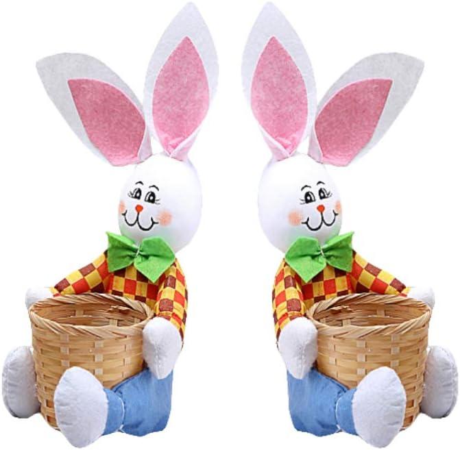Amosfun Cesta de Conejo de Pascua Cesta de Almacenamiento de Huevos de Mimbre Diy Comida de Dulces Bocadillo para Ni/ños Decoraci/ón de Fiesta Hecha a Mano