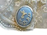 HUMMINGBIRD mothers day BLUE WEDDING PHOTO CAMEO Necklace BOX Locket