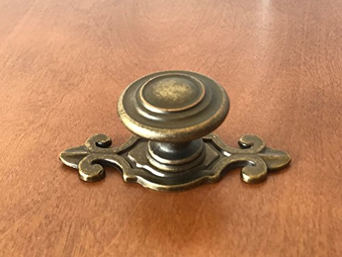 Tall Brass Backplate - Sonoma Cabinet Kitchen Hardware Nantucket Knob Antique Brass with Fleur-de-lis Backplate
