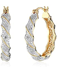 Two-Tone Diamond Accent Twisted Hoop Earrings