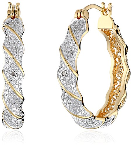 18k Yellow Gold-Plated Two-Tone Diamond Accent Twisted Hoop Earrings - 18k Pave Diamond Ring
