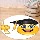 VROSELV Custom carpetGraduation Smiley Emoji Character with a Diploma Student Education School Design for Bedroom Living Room Dorm Yellow Dark Grey Round 34 inches