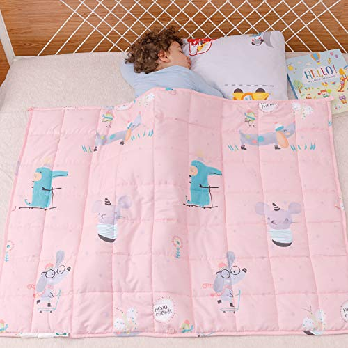 Sivio Kids Weighted Blanket, 100% Natural Cotton Heavy Blanket for Children, Great for Kids Calming and Sleep, 5 lbs, 36 x 48 Inches, Pink Mouse