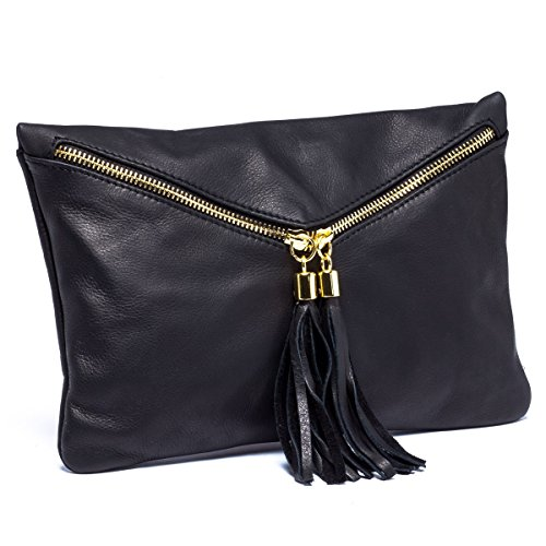 Blue Lemon Paris - Sac enveloppe femme en cuir noir