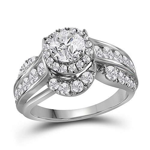 14k White Gold Diamond Solitaire Engagement Ring Wedding Anniversary.00 ct