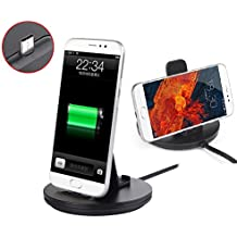 TYPE-C Charging Dock Station, Black Phone Holder and USB-C Charger Dock station with Reversible USB Cable Metal Material for Samsung Galaxy S8/ S8+, Nexus 6P/5X/Pixel XL,HTC 10 etc (Type C--Black)
