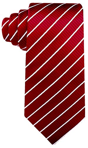 Striped Ties for Men - Woven Necktie - Red w/White ()