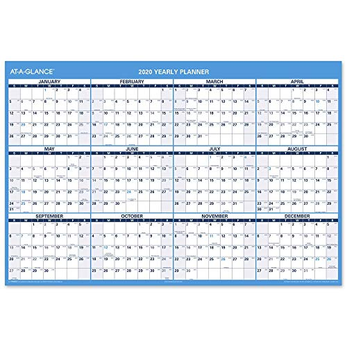 AT-A-GLANCE 2020 Erasable Wall Calendar, Academic and Regular Year, 48