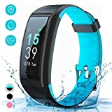 AKASO Fitness Tracker HR, Activity Tracker Watch with Heart Rate and Sleep Monitor, Waterproof Step Counter, Calorie Counter, Smart Fitness Band for Kids Women Man,Physiological Remind (Blue)