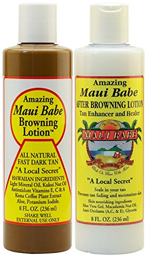 Maui Babe Before and After Sun Pack (Browning Lotion 8 oz, After Browning Lotion 8 oz)