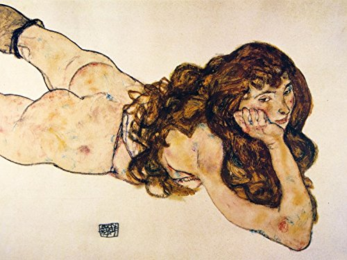 Egon Schiele Poster Adhesive Photo Wallpaper - Female Nude Lying On Her Stomach, 1917, 2 Parts (95 x 71 inches)