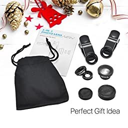 VicTsing 3 in 1 Clip-on 180 Degree Fisheye Lens Plus Wide Angle Lens Plus Macro Lens iPhone Camera Lens Kits for iPhone, Android and Smartphones with Flat Camera - Black