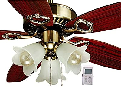 "Gorgeous OL42033 42"" Ceiling Fan Antique Brass with Light&Remote By Ocean Lamp"