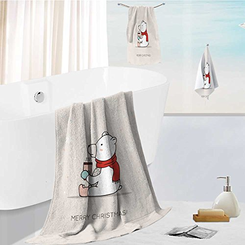 (UHOO2018 Microfiber Outdoor Beach Towel set cute card with hand drawn polar bear with scarf boots and hot drink christmas card joyful winter Luxury Hotel Shower Spa Bath Towels)