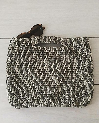 Grey, Black, and White Crocheted Large Top Handle Purse ()