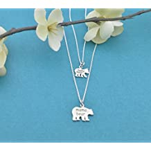Mother Daughter Mama Bear, Baby Bear necklace set.. Mother Daughter Jewelry. Mother Daughter necklace set.