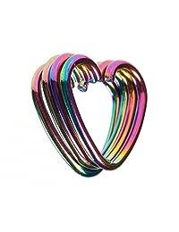 BODYA multicolor 4-8pcs 18 gauge tiny niobium Heart Captive Ring daith Ear Cartilage Earring Rook tragus Helix piercing Jewelry