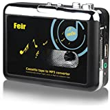 Feir Cassette Converter Portable Cassette to MP3 Converter Stereo USB Cassette Digital Tape MP3 Music Player to MP3 Format Headphones No PC Required