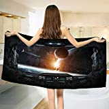 smallbeefly Outer Space Bath Towel Scenery of Planets from The Window of a Shuttle Bodies Astronaut Space Station Customized Bath Towels Gray Orange Size: W 19.5'' x L 39.7''