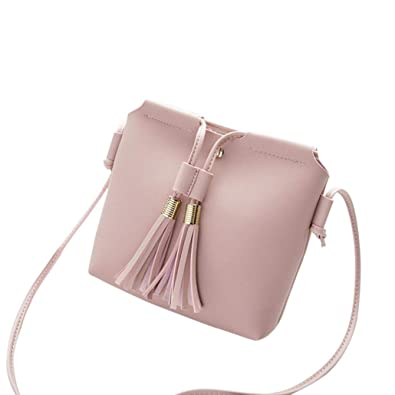 681691734e2a wuayi Women School Tassel Leather Crossbody Shoulder Bag Backpack Coin  Phone Tote Messenger Purse for Work Satchels for Girls (Pink)   Amazon.co.uk  Shoes   ...