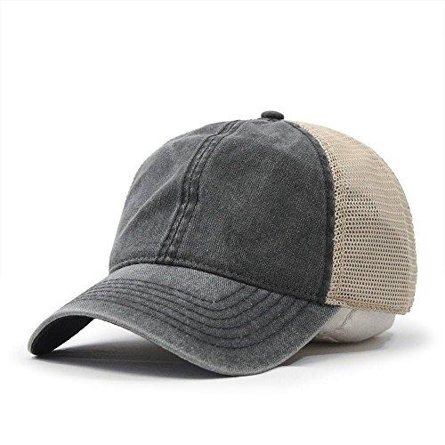 Mesh Vintage Cap (Vintage Washed Cotton Soft Mesh Adjustable Baseball Cap (Charcoal/Charcoal/Khaki))