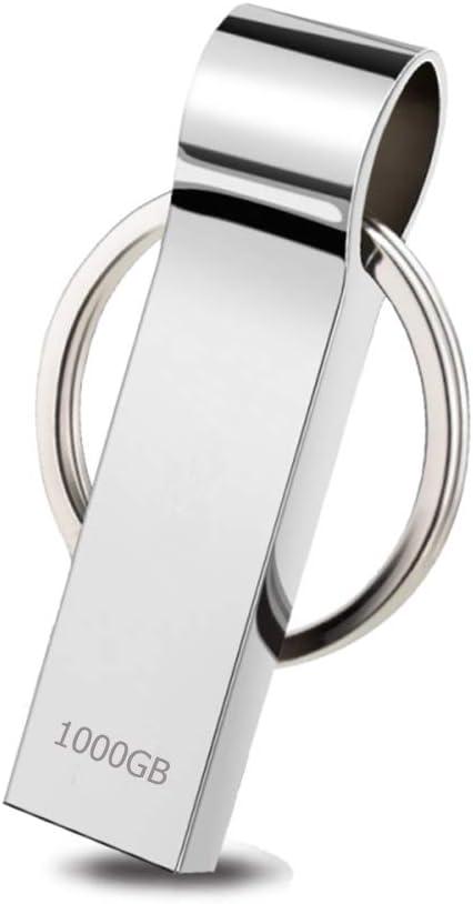 Loyalgo 1000GB USB Flash Drive Waterproof USB 2.0 Thumb Drives Metal Memory Stick with Keychain Silver