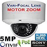 USG MOTORIZED Auto-Focus 2.7-13.5mm Lens : Sony Chip H.265 IP 5MP PoE Dome Security Camera: 2592x1944, 5x Optical Zoom, IR LEDs, Weatherproof, ONVIF 2.6, Business Grade : View Remotely