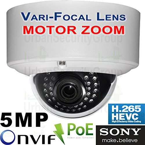 USG MOTORIZED Auto-Focus 2.7-13.5mm Lens : Sony Chip H.265 IP 5MP PoE Dome Security Camera: 2592x1944, 5x Optical Zoom, IR LEDs, Weatherproof, ONVIF 2.6, Business Grade : View Remotely by Urban Security Group