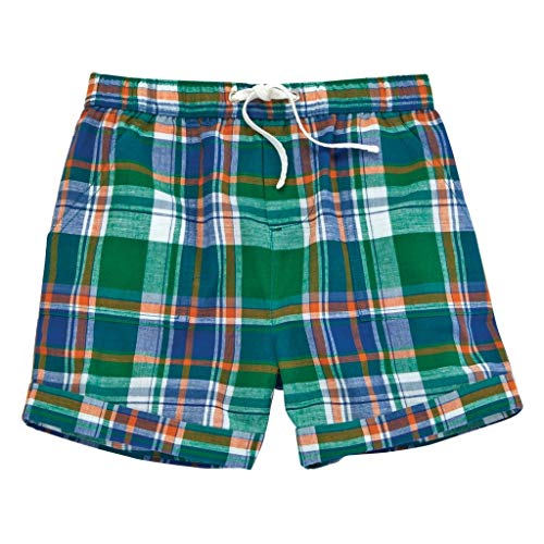 Mud Pie Summer Baby Toddler Boy Marco Polo Plaid Shorts 15200025 (Green, ()