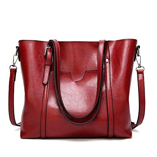 Red Mynos Purse Top Retro Women Occident Wine Satchel Style Handle Tote Bag Handbags Shoulder OxO1r6