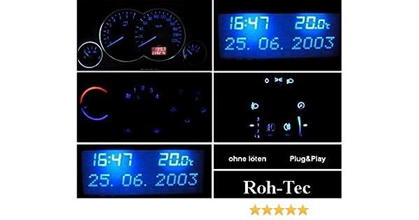 blanco Juego de iluminaci/ón de cabina para Opel Astra G rojo Agila verde Zafira color azul
