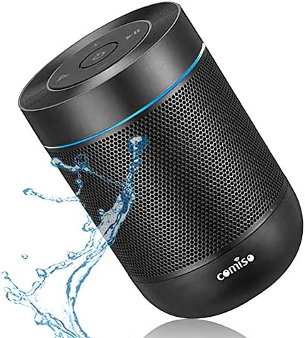 Portable Bluetooth Speaker, COMISO Bluetooth Wireless Mini Pocket Speaker, 360 HD Surround Sound & Rich Stereo Bass, 12H Playtime, IPX5 Waterproof for Travel, Outdoors, Home and Party (Black)