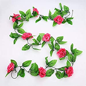 Lerumory 2.4M/7.8Ft Artificial Silk Rose Flower Wisteria Vine Rattan Hanging Flower Garl for Wedding Party Decoration B 59