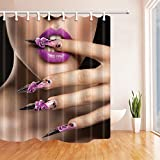 KOTOM Makeup Shower Curtains, Sex Woman with Purple Lips and Nail, Polyester Fabric Waterproof Bathroom Bath Curtain, Shower Curtain Hooks Included, 69X75in