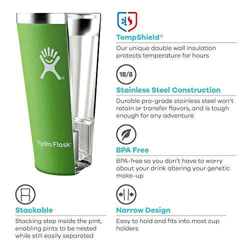 Hydro Flask 16 oz Stackable Shatterproof boost Wall vacuum pressure Insulated Stainless material True Pint outdoor life Cup for Beer or Cider Pacific No sport bike helmet contained Beer Glasses