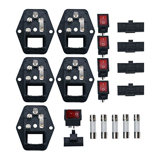 URBEST 5Pcs Socket Switch Inlet Module 3Pin 5A Fuse IEC320 C14 Male Power Socket 10A 250V for Lab Equipment, Medical Devices ()