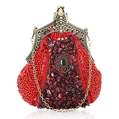 Sequins Wedding Handbag Clutch Evening Bridal Shoulder Prom Party Envelope Bridal Red Beaded Bag Hijing Evening Handbag qCwggv