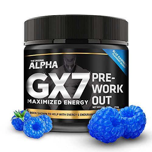 Cheap Alpha Gx7 Pre Workout Powder – Energy Drink for Workouts 252g – 30 Servings Blue Raspberry Flavor