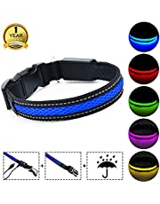 MASBRILL Leuchthalsband für Hunde aufladbar LED hundehalsband Blinkende Lichter mit USB verstellbar 3 Modells und sechs Farben