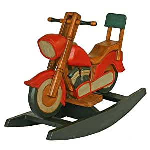 Exp antique style wooden motorcycle design for Scooter rocking horse