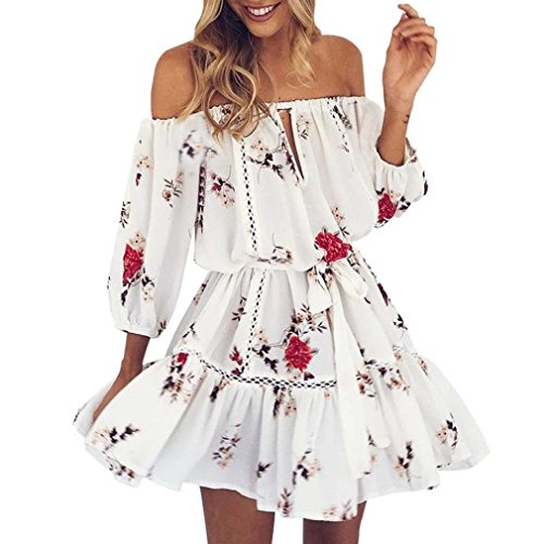 Kstare Womens Summer Off Shoulder Floral Print Sundress Party Short Beach Mini Dress (White, ()