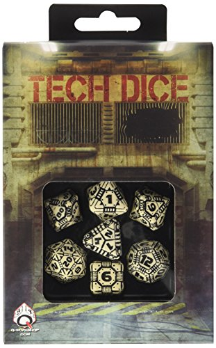 Q WORKSHOP QWOTEC18 Qworkshop 7 Piece Tech Dice Set, Beige and Black, Multi-Color 4