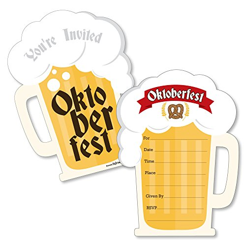 Oktoberfest - Shaped Fill-In Invitations - German Beer Festival Invitation Cards with Envelopes - Set of 12 by Big Dot of Happiness
