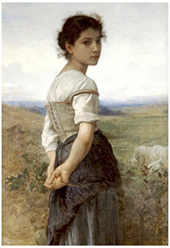 William-Adolphe Bouguereau The Young Shepherdess Art Print Poster 13 x 19in (Reproductions Bouguereau)