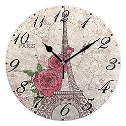 Pfrewn Wall Clock Vintage Eiffel Tower Floral Clock Silent Non Ticking Round Wall Clocks Battery Operated Decor, Retro Paris Clocks 10 Inch Quartz Analog Quiet Desk Clock Bedroom Living Room for Kids