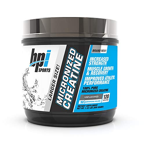 BPI Sports Micronized Creatine - Increase Strength - Reduce Fatigue - Lean Muscle Building - 100% Pure Creatine - Better Absorption - Supports Muscle Growth - Unflavored - 120 Servings - 21.12 oz. (Best Creatine For Men)